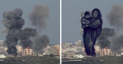 巴勒斯坦插畫家把來自以色列飛彈的濃煙變成最令人省思的照片。這真的讓我看不下去了...