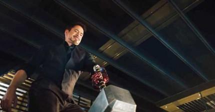 在《復仇者聯盟2》特別版預告片裡面,全部人一起取笑雷神槌之後,鋼鐵人能提起雷神槌嗎?