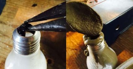 用過的燈泡別丟!在灌入水泥後,就能變身成超木質復古掛衣架!