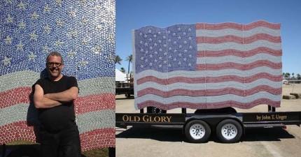 在看過他們是用什麼製作這面美國國旗時,很多男生可能會「發出超羨慕的呻吟」。