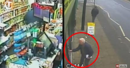 監視器拍下歹徒持刀強搶就要得逞,但這位路過的78歲老人英勇的舉動阻止了一切。
