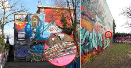 這個「街頭塗鴉牆」有30年歷史, 剝開一看「100層七彩千層蛋糕」比塗鴉更美!