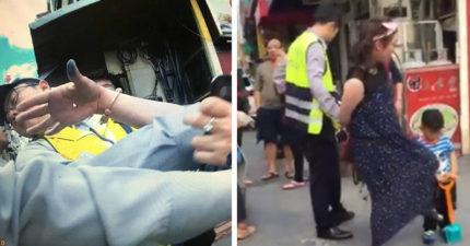 中國婦來台「穿霸王衣不付錢要直接帶走」,甩警巴掌遭制伏「惱羞怒踢自己小孩」嗆:X你媽的,有沒有人權?