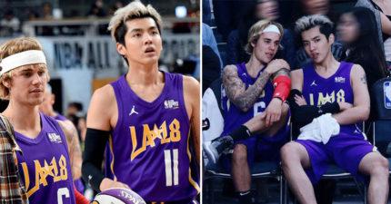 兩大男神像好友一樣聊天!小賈斯汀跟吳亦凡「換上湖人隊制服」參加NBA名人賽!