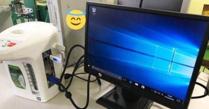 強者將熱水壺改造成電腦,「給湯」按下去畫面就出來了呢!拆開裡面看「鬼斧神工」