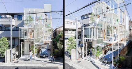 日本「全透明玻璃房屋」挑戰人類隱私底線!「超奇特無牆內部裝潢曝光」路人從外面直接看光光!(13張)