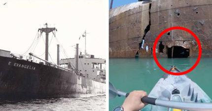 他大膽划進「二戰擱淺船的小洞」 看到的東西讓他不想出來了
