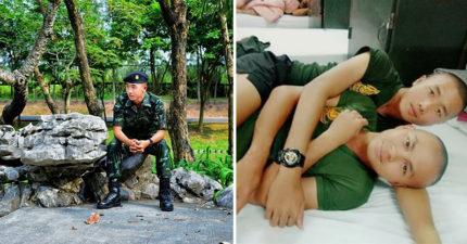誰說抽中紅籤只有暈倒的份?泰國2小哥「進軍營墜入愛河」,曬出「大腿夾緊對方」軍營甜蜜床照閃到瞎❤