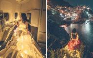 香港網美商務艙拍「彩燈環繞意境照」 椅子反著坐引國際撻伐:根本無視飛安!