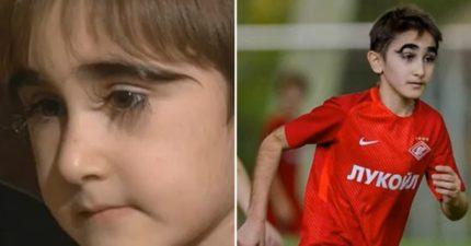 俄羅斯「睫毛最長男孩」眼睛像2把扇子 被同學排擠卻勇敢想完成踢球夢想!