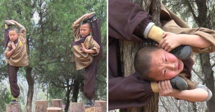 少林寺都怎麼練功的?小僧侶「超威練武實況」曝光 「一整排懸空掛樹上」網哀嚎:光看就覺得痛