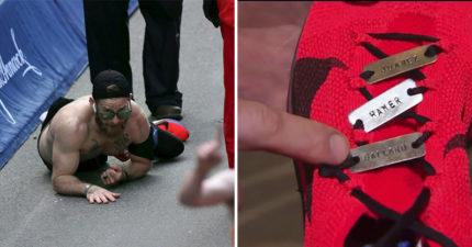 海軍陸戰隊老兵「堅持爬過」馬拉松終點線 鞋帶上的「三個名字」讓所有人鼻酸