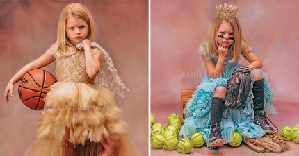 她聽到女兒被稱讚「長得很少女」 隔天馬上幫她拍「穿球鞋的公主照」讓其他爸媽超羞愧!