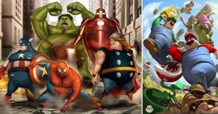 藝術家讓知名角色通通「體脂肪爆增」 胖星爵比索爾還崩壞!