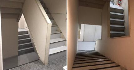 網友遇到讓人「不知怎踏出第一步」的錯視樓梯照 他崩潰:哪個樓梯才會到2樓?