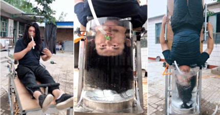 天才男發明「懶人洗頭機」網路爆紅 結合「健身+洗吹髮」一次到位!
