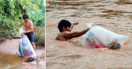偏鄉兒童為了上學 不惜花錢「被塞進垃圾袋」過河…「超衝擊畫面」震撼全球!
