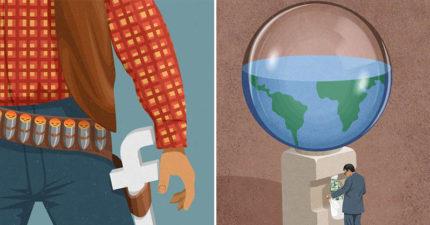 20張「諷刺現代病態社會」黑暗系插畫 你身邊也有「以利益為目的」的假朋友嗎?