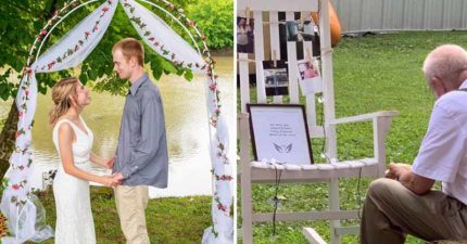 婚禮上看見爺爺「跟椅子吃飯」讓新娘瞬間淚崩:這才是世上最美的愛情!