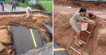 泰美女老師「無懼颱風」赤腳踩梯子 她硬爬斷路進村「原因曝光」被讚爆:太盡責!