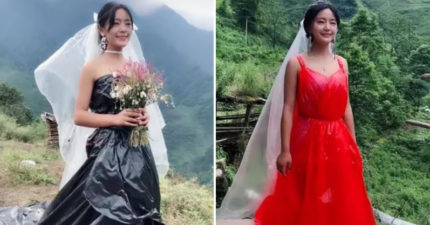 正妹用「塑膠袋做夢幻婚紗」網路爆紅 她曝光高收入的「背後心酸」超勵志!
