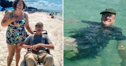 93歲阿公此生「第一次去海邊」興奮玩水慶生 看夕陽的背影卻逼哭網友!