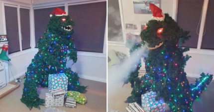 會噴氣的「哥吉拉聖誕樹」爆紅 創意作品「經歷34次競標」高價出售全捐出!