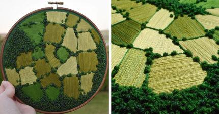 25張「比空拍還驚艷」的唯美刺繡 一種顏色就讓「黃金麥田」美得像畫!
