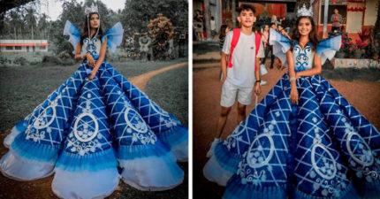 沒錢租禮服!暖心男「幫妹妹打造夢幻禮服」成品被讚翻:現代神仙教母
