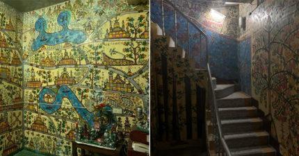 鄰居爺爺「生前興趣」畫滿整棟房屋 作品如「埃及墓室壁畫」台網友:拆掉太可惜!
