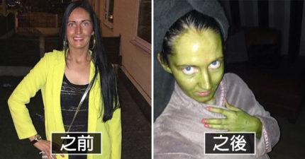 悲慘媽想當小麥肌美女「抹仿曬劑」 一覺醒來卻「全身螢光綠」變費歐娜公主