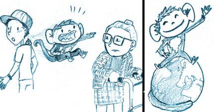 藝術家用插畫「解釋武肺給孩子聽」:武肺猴會捉弄人,所以要乖乖在家❤