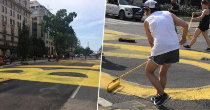 民眾在白宮前寫巨大求救「涵蓋16條街」 這次川普看得到嗎?