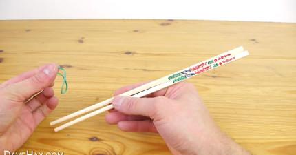 橡皮筋紙片筷子