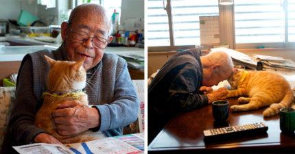 94歲爺爺生病天天愁眉苦臉 孫子給了他一隻貓咪後他的人生都亮了起來!