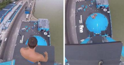 男子挑戰「超極限高空跳水」 「每小時96公里墜下」讓人看到腿軟!