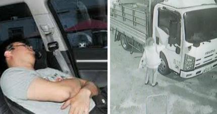 他車裡睡昏「迷糊中被陌生奶奶敲窗戶」 醒來看車庫門嚇傻:祂救了我