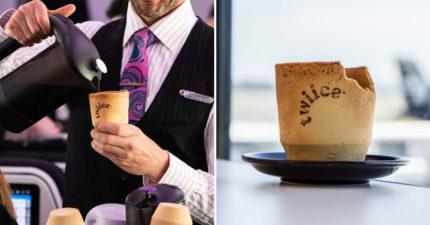 紐西蘭航空推「可食用咖啡杯」響應環保 「香草餅乾+咖啡」配冰淇淋更完美!
