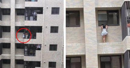 桃園大樓外牆「女童扒窗邊」 鄰居嚇壞「小孩比疫情更可怕」