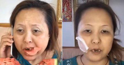 簡直詐騙!啃西瓜歐巴桑「化妝變女神」 網驚:像波多野結衣