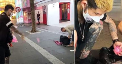 網紅去西門町巡邏 見未戴口罩街友「狠砸75%酒精水球」