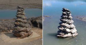 日月潭「差2.5公尺」滿水 「九蛙疊像」終於喝到水啦!