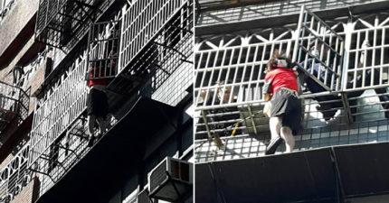 我要出門!桃園婦人「爬窗偷溜」 錯估高度懸掛「五層樓高窗外」