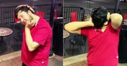 影/他表演把頭「轉180度」拍攝者嚇瘋!醫師警告:恐造成癱瘓